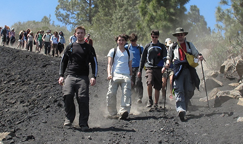 A group of students walking together on a field trip