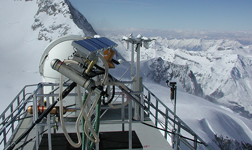 A research facility atop a snowy mountain