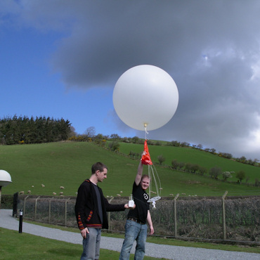 Researchers releasing a weather balloon