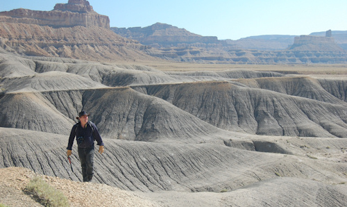 Researcher walking in Utah Basin