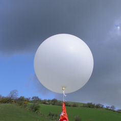 Close-up of a weather balloon being launched