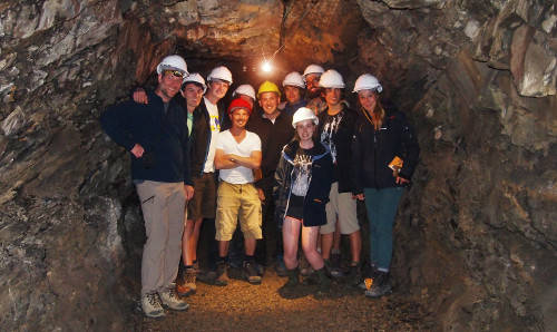 Students and staff on fieldwork visiting a mine
